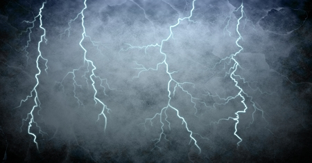Digital composite of Lightning strikes and grunge background Imagens
