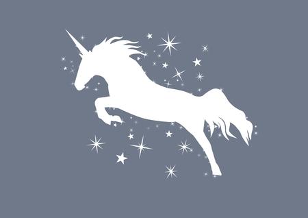 Digital composite of White unicorn silhouette and stars