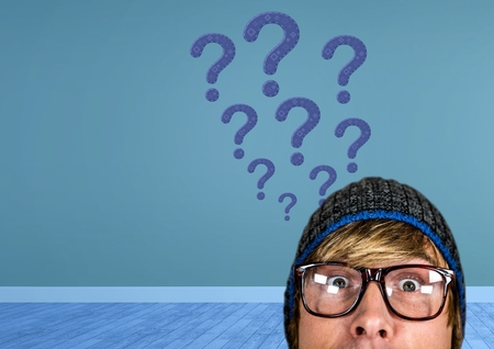 Digital composite of Man in hat thinking with blue stitched question marks