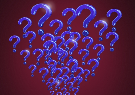 Digital composite of pink question marks