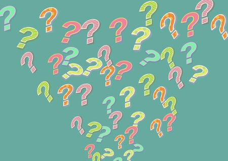 Digital composite of colorful funky question marks