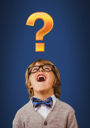 Digital composite of Quirky Kid Boy with gold question mark