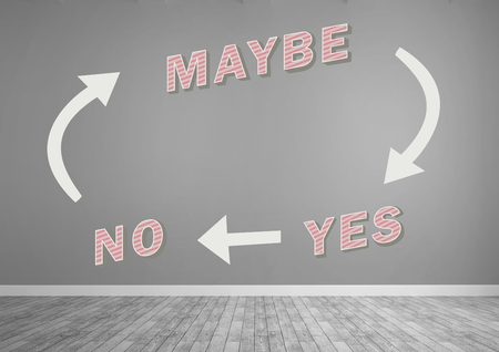 Digital composite of Yes No Maybe text with arrows graphic on wall Standard-Bild