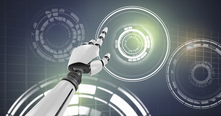 Digital composite of Robotic android hand pointing and Glowing circle technology interface