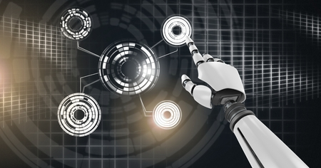 Digital composite of Robotic android hand touching and Glowing circle technology interface