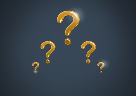 Digital composite of gold question marks