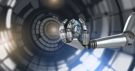 Digital composite of Robotic android hand holding world earth and Glowing circle technology interface