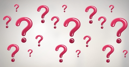 Digital composite of shiny pink question marks