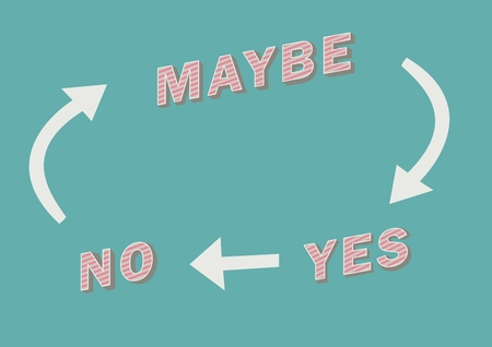 Digital composite of Yes No Maybe text with arrows graphic on blue backgrounds Stock Photo