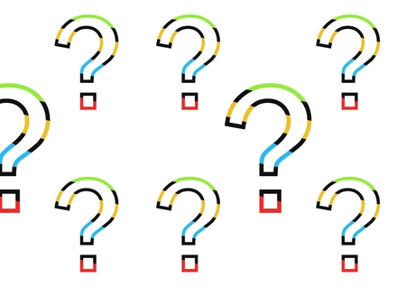 Digital composite of colorful question marks