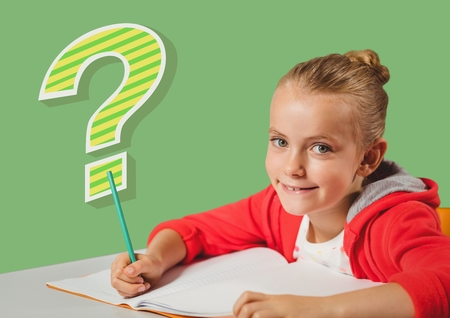 Digital composite of Kid Girl doing classwork with funky cool question mark Stock Photo