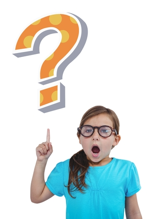 Digital composite of Kid Girl with funky cool question mark