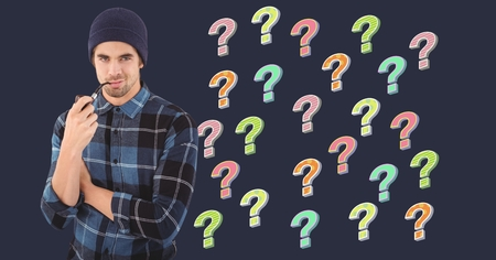 Digital composite of Man thinking with pipe and colorful funky question marks