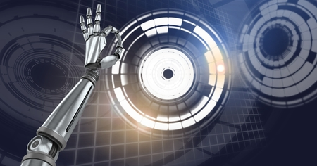 Digital composite of Robot android hand and Glowing circle technology interface