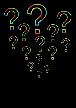 Digital composite of colorful question marks with black background Stock Photo