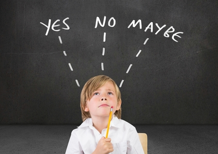 Digital composite of Child thinking Yes No Maybe text with arrows graphic on wall 스톡 콘텐츠