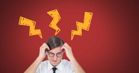 Digital composite of Man thinking with lightning strike doodles on red background Standard-Bild