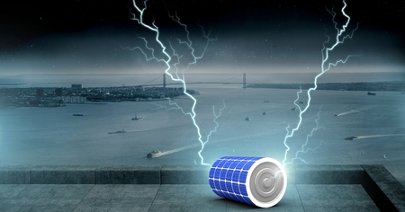 Digital composite of Lightning strikes and battery charge power energy
