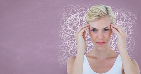 Digital composite of Stressed headache woman with pink squiggly lines