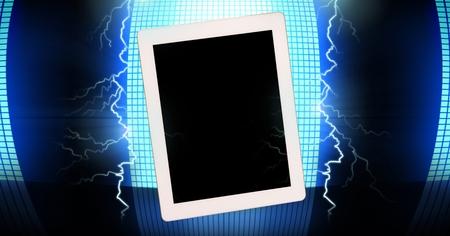 Digital composite of Lightning strikes and tablet