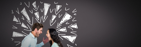 Digital composite of Couple arguing and fighting with triangle doodles on grey background