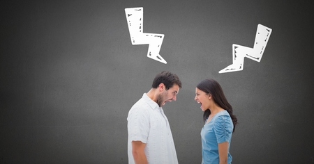 Digital composite of Couple fighting and arguing with lightning strikes doodles on grey background Stock Photo