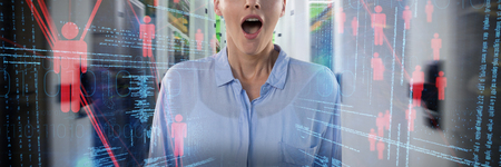 Business woman surprised against composite image of illustration of virtual data
