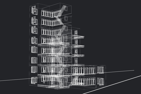 Digital composite of 3d wire frame of office builing 版權商用圖片