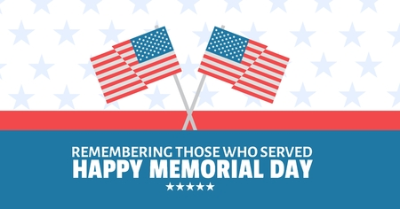 Digital composite of memorial day message with crossed american flags and red white and blue stars and stripes background