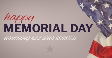 Digital composite of Memorial day text with USA  flag