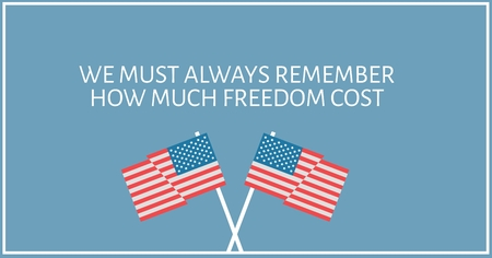 Digital composite of memorial day message with crossed american flags surrounded by white frame