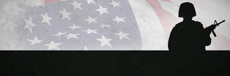 Focus on usa FLAG against grey background Stock Photo