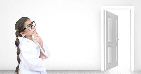 Digital composite of girl thinking near open door opportunity Stock Photo