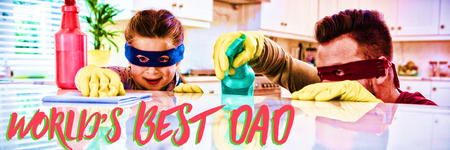 Close up of red worlds best dad text against father and daughter pretending to be superhero