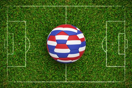 Football in holland colours  against green grass Standard-Bild