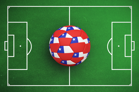 Football in chile colours against soccer field plan