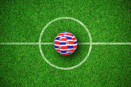 Football in costa rica colours against close up view