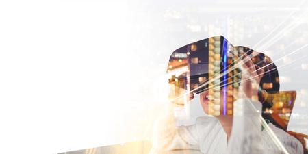 Little girl holding virtual glasses