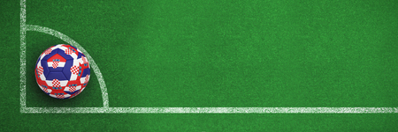 Football in croatia colours against black and white soccer corner line