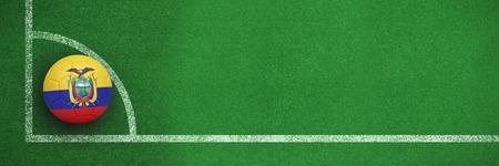 Football in ecuador colours against black and white soccer corner line