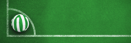 Football in nigeria colours against black and white soccer corner line Stock Photo