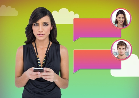 Digital composite of Woman using phone with chat bubble messaging profile