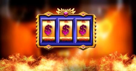 Digital composite of Casino slot machine and burning fire Stock Photo