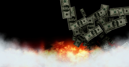 Digital composite of Dollar money notes burning in fire