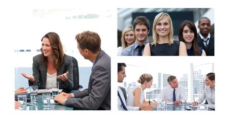 Digital composite of Teamwork business meeting collage Stok Fotoğraf