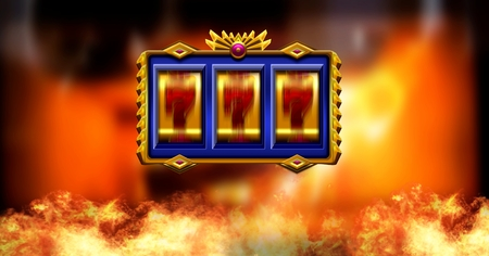 Digital composite of Casino slot machine and burning fire Stock Photo