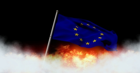 Digital composite of European flag and burning fire