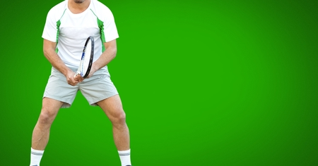 Digital composite of Tennis player with green background with racket