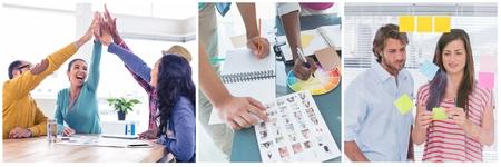 Digital composite of Teamwork creative meeting collage Stock Photo