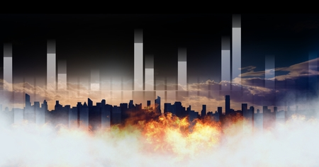 Digital composite of City with burning fire